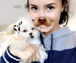 demi lovato, dog, and snapchat image