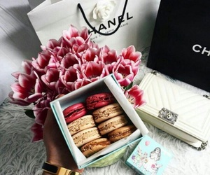 chanel, macaroons, and flowers image