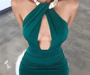 chic, dress, and emerald image