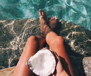 summer, coconut, and ocean image