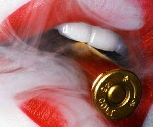 lips, smoke, and bullet image