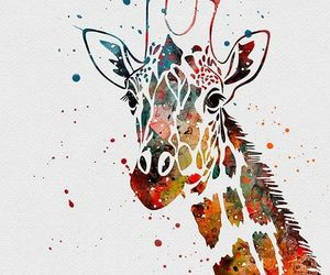 art, colors, and giraffe image