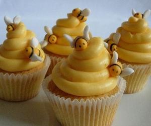cupcake, bee, and yellow image