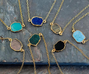 accessories, boho necklace, and gem slice necklace image