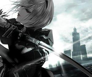 anime, girl, and warrior image