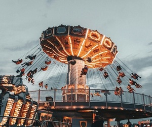amusement park, lights, and photography image