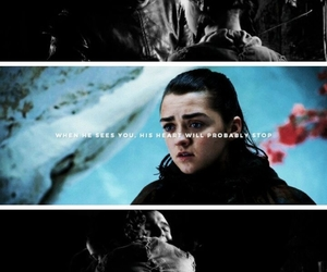 arya stark, jon snow, and game of thrones image
