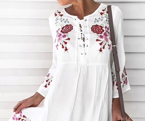 dress, bell sleeve, and floral dress image