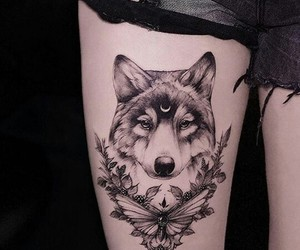tattoo, ink, and wolf image