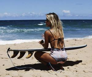 ocean, surfer, and surfboard image