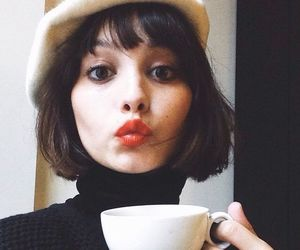 short hair and coffee image