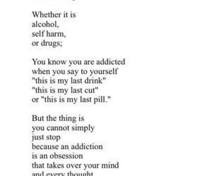 addiction, quotes, and sad image