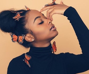 girl, beauty, and butterfly image