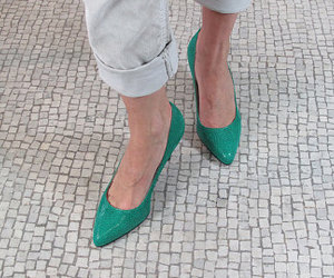 etsy, pointed toe pumps, and green leather shoes image