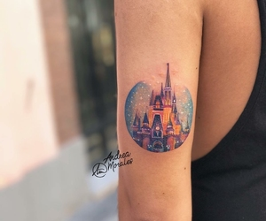 disney, tattoo, and cinderella's castle image