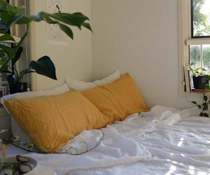 yellow, bedroom, and bed image