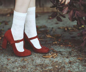 girl, red, and shoes image