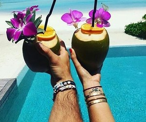 beach, Cocktails, and couple image
