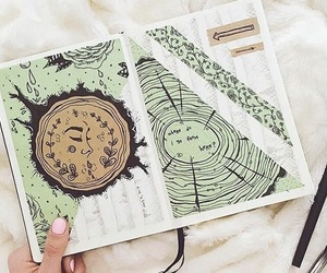 art, art journal, and green image
