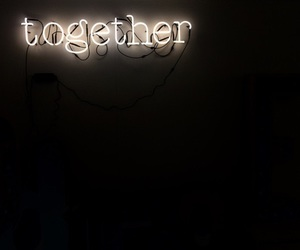 neon, sign, and together image