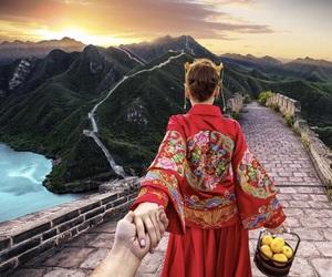 couple, travel, and china image