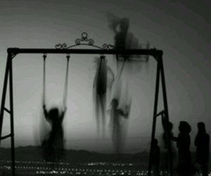 black and white, dark, and ghost image