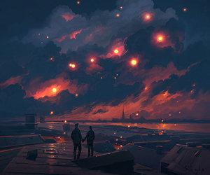 art, lights, and night image