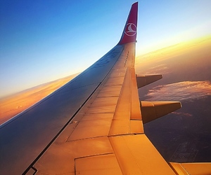air, airplane, and beautiful image