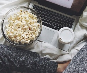 popcorn, coffee, and movie image