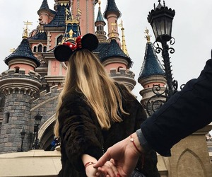 disney, couple, and disneyland image
