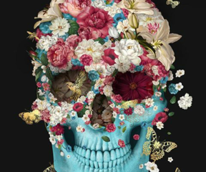 flowers, skull, and blue image