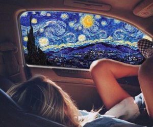 girl, stars, and starry night image