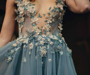 blue, wedding, and transparan dress image
