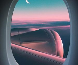moon, travel, and pink image