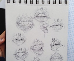 art, lips, and drawing image