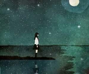 girl, night, and stars image