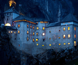 night, castle, and slovenia image