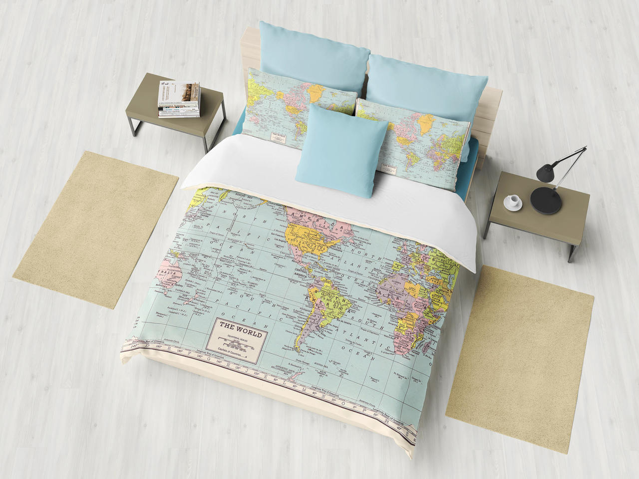 World Map Duvet Cover - comforter, bed - bedroom, travel ...