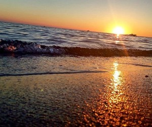 sea, sunset, and albania image