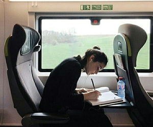 girl, travel, and train image