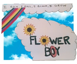art, clouds, and flower boy image