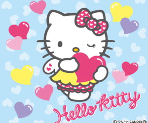 hearts, hello kitty, and kawaii image