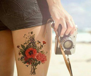 tattoo, flowers, and camera image
