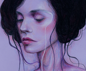 art, colored pencils, and lilac image
