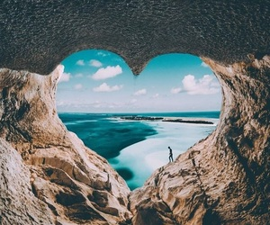 heart, beach, and sea image
