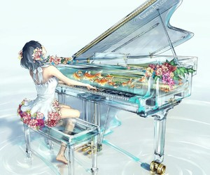 piano, art, and flowers image