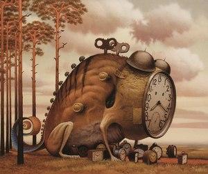 illustration, clock, and surrealist image