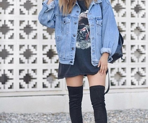 black thigh high boots, blue denim jacket, and black choker necklace image