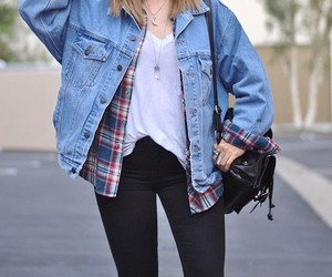 white t-shirt, flannel shirts, and black ripped jeans image