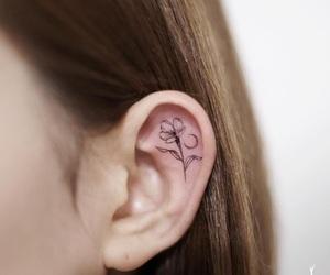 ear, flower, and girl image